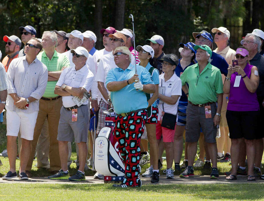 John Daly hits his second shot on the first hole out of the rough during the first round of the Insperity Championship at The Woodlands Country Club on May 6, 2016 in The Woodlands, Texas. Photo: Jason Fochtman