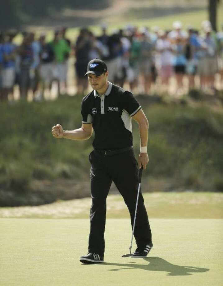 Martin Kaymer reacts to his birdie putt on the 16th hole during the second round of the U.S. Open on Friday in Pinehurst, N.C. Photo: Chuck Burton