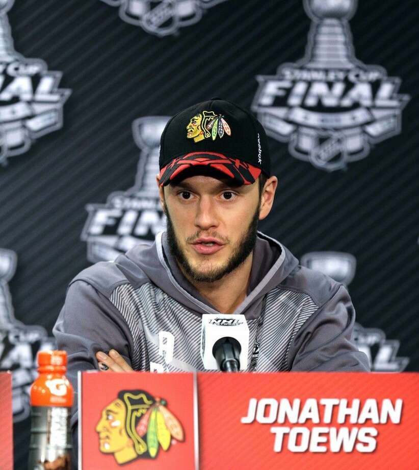 Chicago Blackhawks center Jonathan Toews responds to a question during a Stanley Cup Final news conference in Chicago Photo: Nam Y. Huh