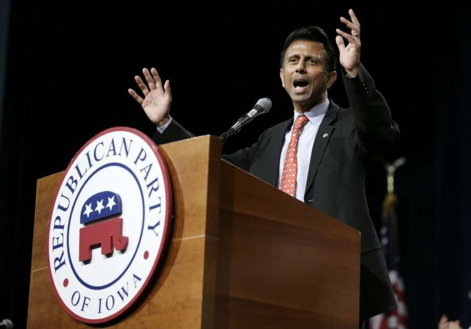 Louisiana Gov. Bobby Jindal speaks during the Iowa State Republican Convention Saturday in Des Moines, Iowa.