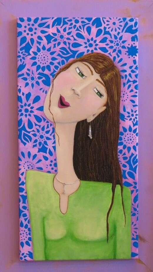 """An acrylic painting titled, """"Jolene"""" by Jaime Hatfield, which is currently on display at the Gallery at the Madeley Building."""