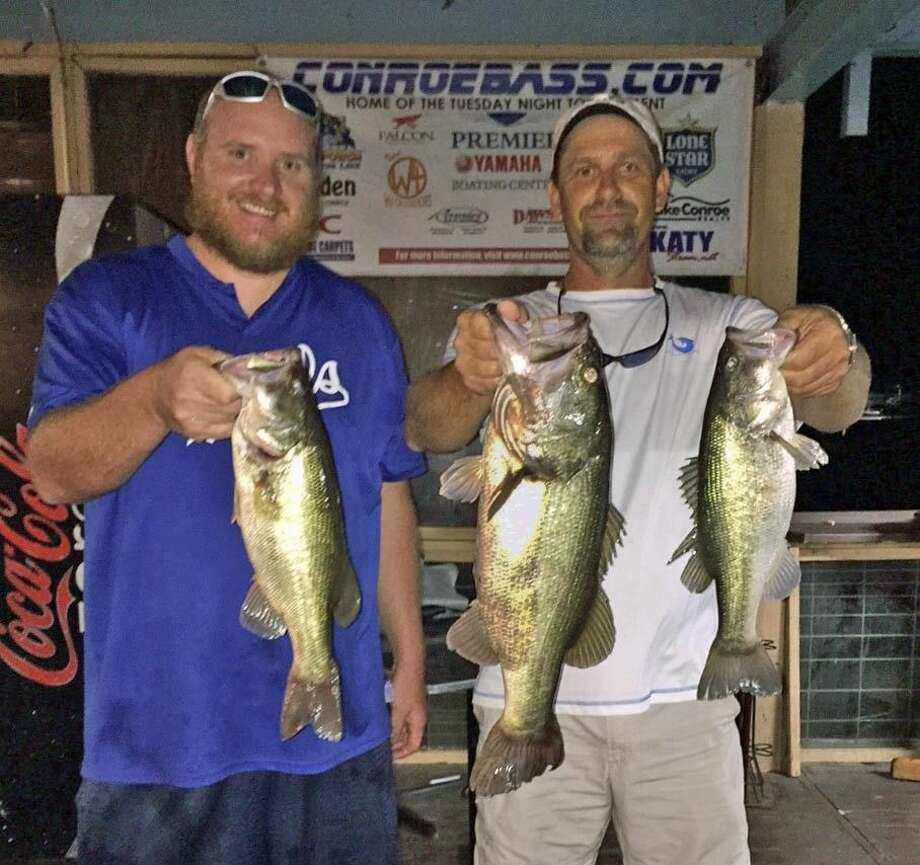 Tommy Dunn and Scott Middleton came in third place in the Conroe Bass Tuesday tournament with a total stringer weight of 11.74 pounds.