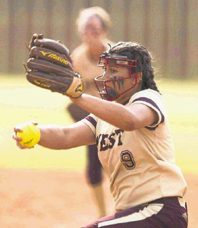 Magnolia West pitcher Ariana Adams throws during the UIL Region III-5A bi-district round back in April. Photo: Jason Fochtman