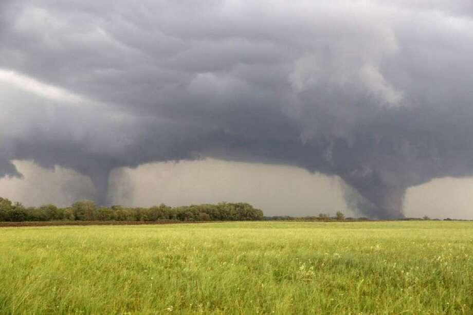 Two tornadoes approach Pilger, Neb., Monday.