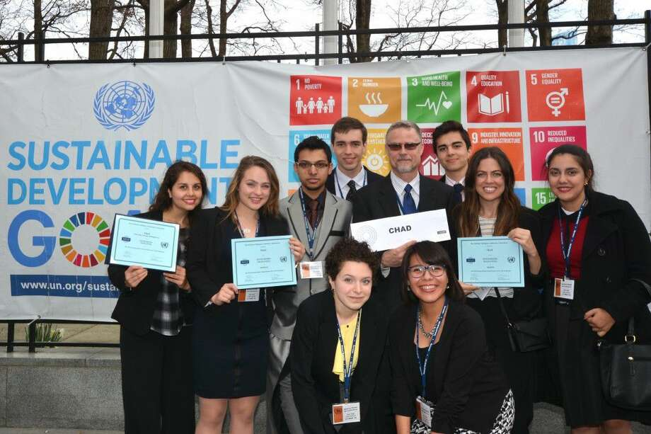 Top Row (left to right): Henry Price, Jasym Mireles Second Row (left to right): Shelsy Mireles, Hanna Brumbelow, Pradip Lamsal, Professor David Kennedy, Natalia Hazelwood, Marielisa Figuera (LSC-Kingwood delegate) Third Row (left to right): Emma Hudroge, Lindsey Solis. Eight honors students from LSC-Montgomery helped the college win several awards at the National Model U.N. Conference in New York City.