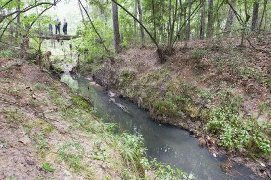 Park rangers look out onto a creek filled with raw sewage at W.G. Jones State Forest off of FM 1488 Wednesday. / Conroe Courier / HCN