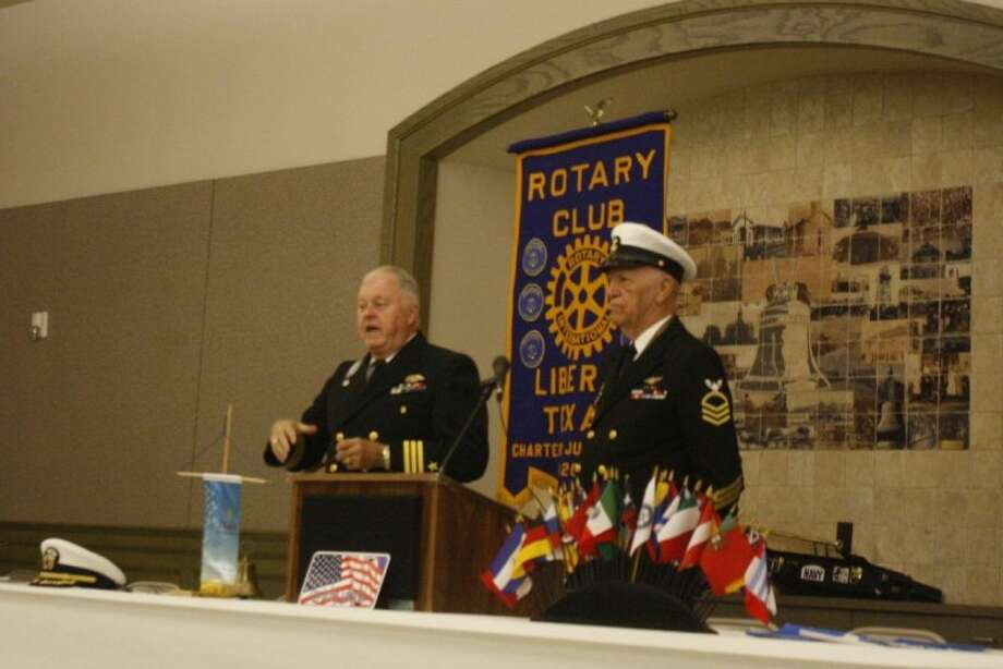 Liberty Rotary Club President Jim Sterling calls the November meeting to order. Standing beside him is Rotarian Sergeant-At-Arms Charles Grabein. Photo: LOUIS ROESCH