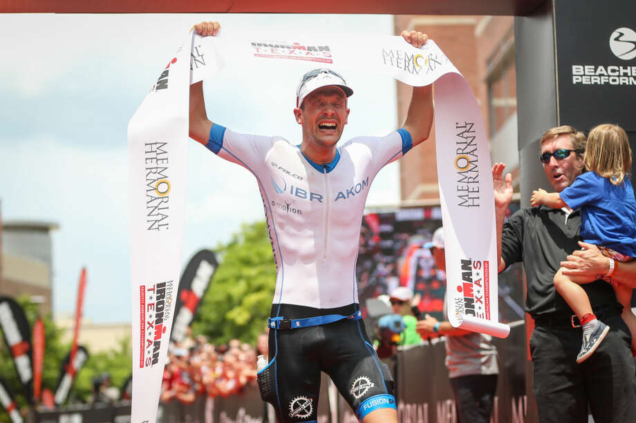 Patrick Lange, of Germany, reacts after placing first in the Memorial Hermann IRONMAN North American Championship on Saturday, May 14, 2016, in The Woodlands, Texas. To view more photos from the event, go to HCNPics.com. Photo: Michael Minasi