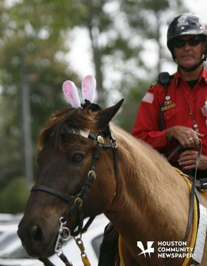 File Photo: Rambo, a 15 year old horse with Alpha & Omega patrol sports festive headgear during the Easter Sunday service at The Cynthia Woods Mitchell Pavilion