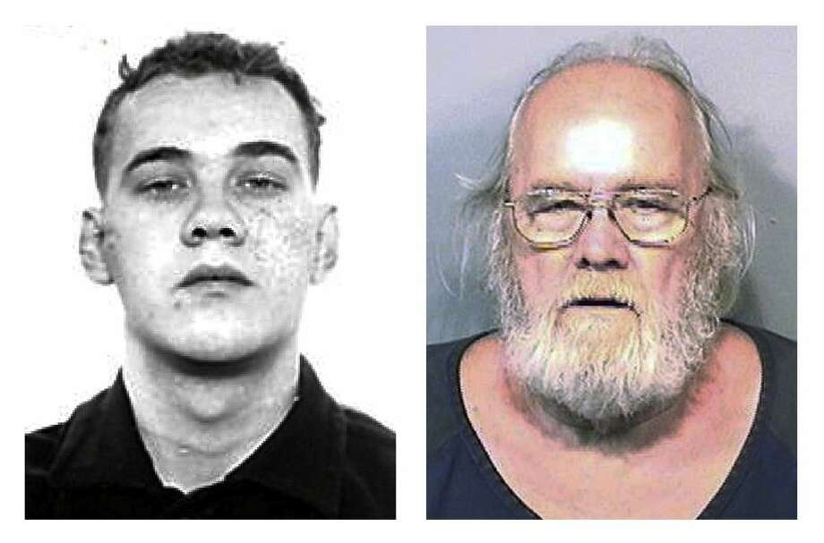 Left, Harold Frank Freshwaters in a Feb. 26, 1959, Ohio State Reformatory photo released by the U.S. Marshals Service. Right, Freshwaters in a Tuesday booking photo released by the Brevard County Sheriff's Office. Photo: HOGP