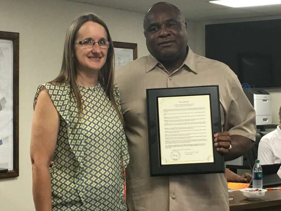 Retiring City Secretary Brenda Burns, left, began her career for city of Willis on May 26, 1981, as a part-time utility billing clerk. Mayor Leonard Reed and the City Council officially recognized Brenda Burns for her service during the regular meeting at City Hall on Tuesday evening.