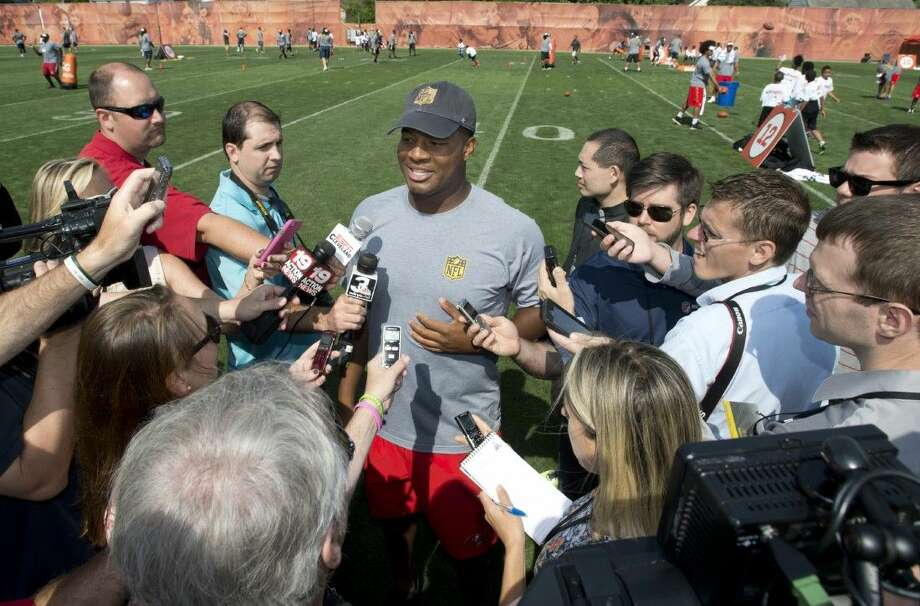 Tampa Bay Buccaneers quarterback Jameis Winston, center, speaks with the media during the NFL Rookies Symposium in Berea, Ohio, Friday. Photo: David Richard