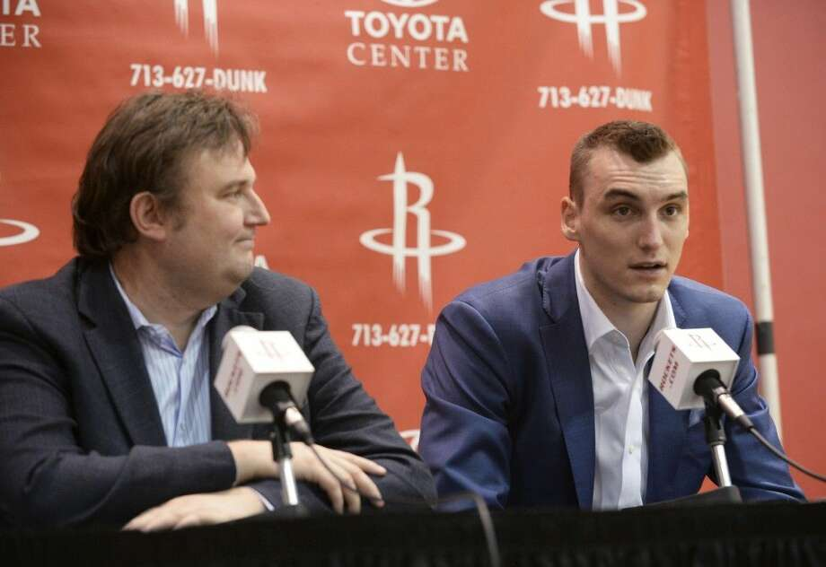 Sam Dekker, right, a Wisconsin forward, was selected 18th overall by the Houston Rockets. Photo: Jon Shapley