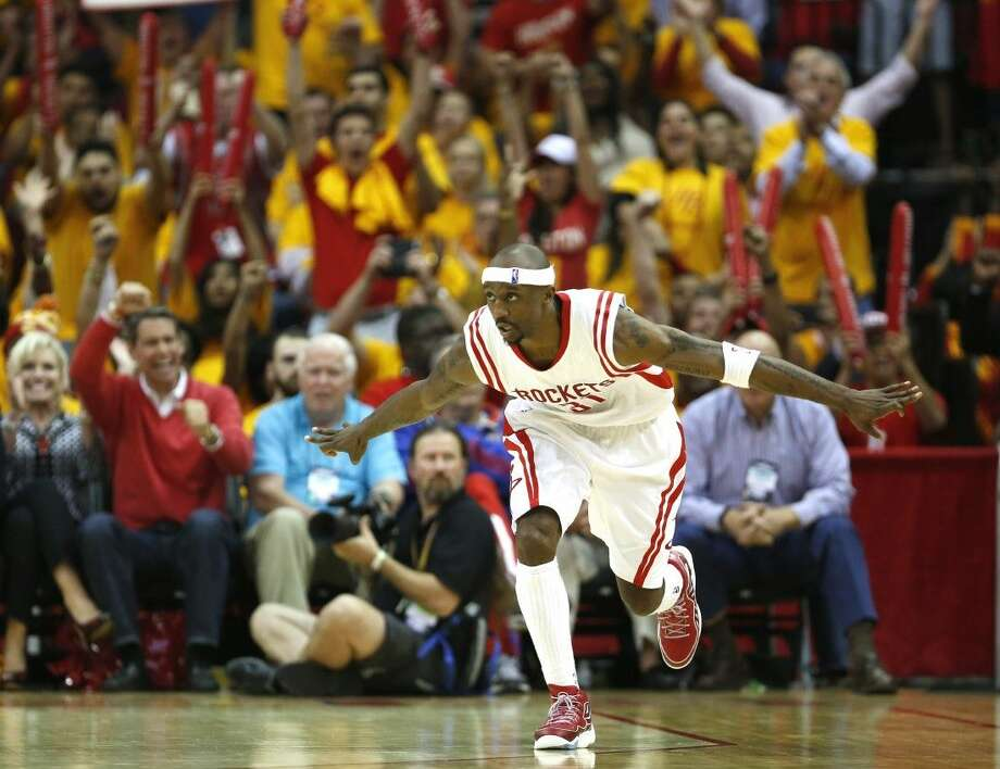 Houston Rockets guard Jason Terry celebrates after hitting a 3-pointer against the Clippers last round. Photo: James Nielsen