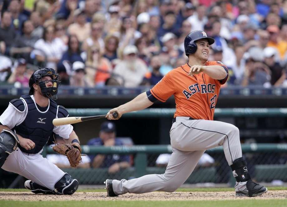 The Astros' Preston Tucker follows through on his three-run home run in the sixth inning. Photo: Duane Burleson