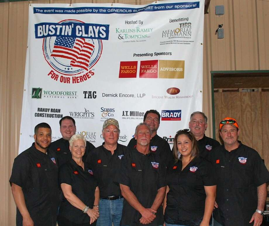 Pictured here is the 2015 Bustin' Clays committee (left to right): Mikael Simpson, TIRR Memorial Hermann and the Memorial Herman Foundation; Brandon Bartoskewitz, The Gun Room; Linda Freede, LJF Marketing; David Sharp, DSP Resources; Mike Karlins, KRT; Keith Townsend, Wells Fargo Advisors LLC; Veronica Harman, KRT; Dennis Bartoskewitz, Dernick Encore LLC; and Bill Stigall, Wells Fargo Advisors LLC.