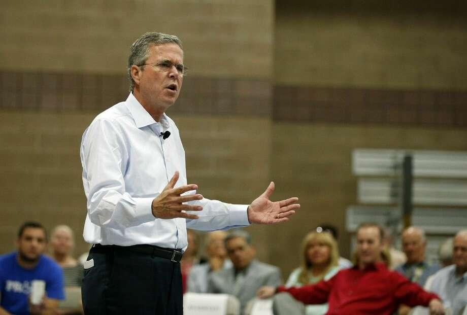Republican presidential candidate, former Florida Gov. Jeb Bush speaks at a campaign event Saturday in Henderson, Nev. Photo: John Locher