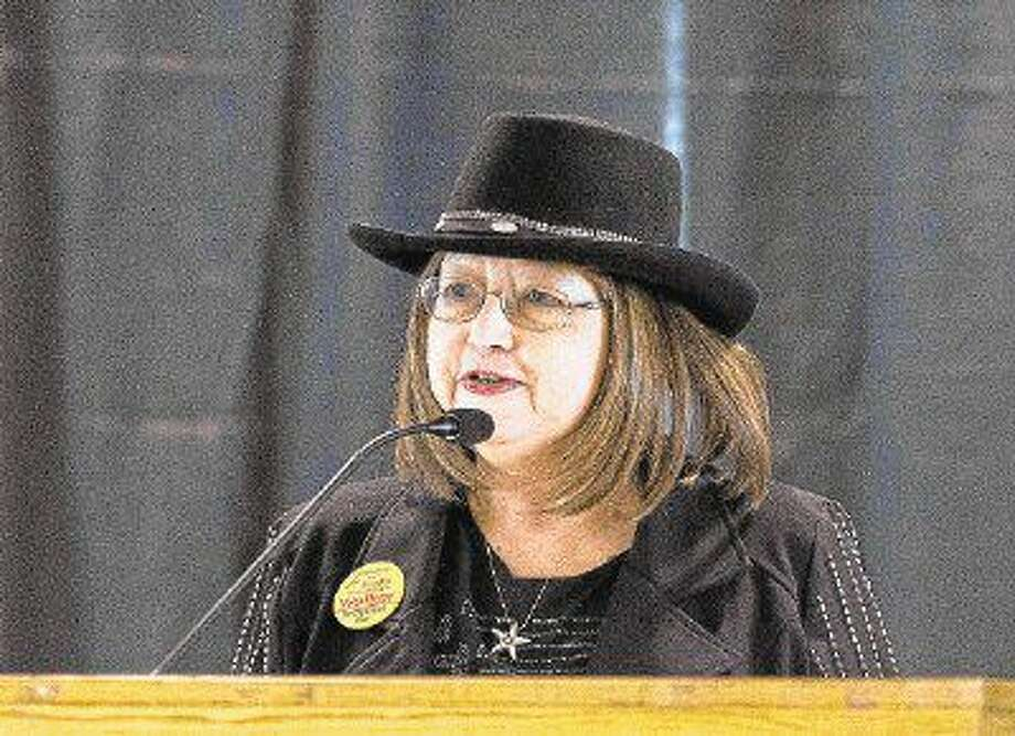 Sandra Walker, candidate for Conroe City Council position 1, speaks during a political forum at Lone Star Convention & Expo Center in Conroe. Photo: Jason Fochtman