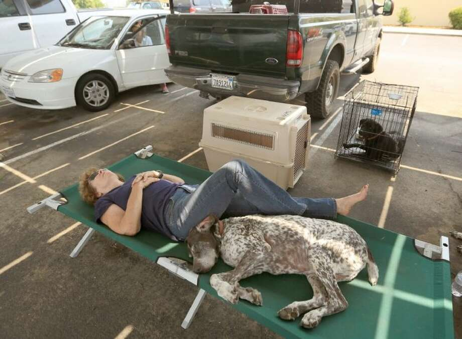 Cheryl Brown, who was evacuated from her home that was in the path of the Butts Fire, rests on a cot at Middletown High School in Middletown Calif., with her dogs Dutch, front, and Buster, in kennel, Wednesday.