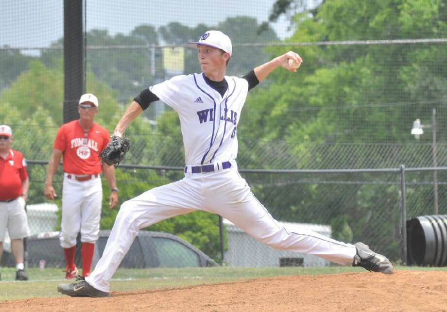 Willis pitcher Kyle Backhus delivers a pitch against Tomball in the Region III-5A area playoffs at Conroe High School on Saturday. Photo: Keith MacPherson
