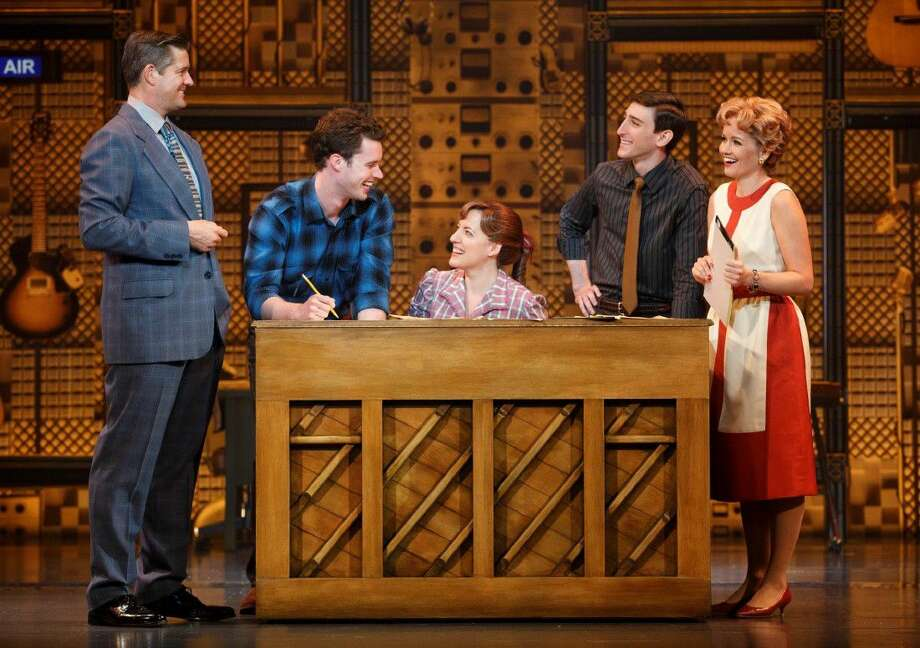 Abby Mueller (Carole King), Becky Gulsvig (Cynthia Weil), Ben Fankhauser (Barry Mann) and Liam Tobin (Gerry Goffin) perform in Beautiful - The Carole King Musical. The show will run May 31 through June 5 at The Hobby Center.