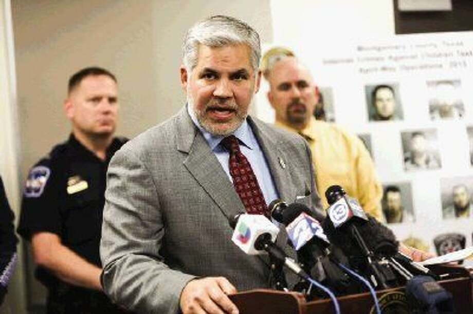 District Attorney Brett Ligon speaks during the Montgomery County Internet Crime Against Children Task Force's press conference on Wednesday at the south Montgomery County Sheriff's Office. Photo: Michael Minasi