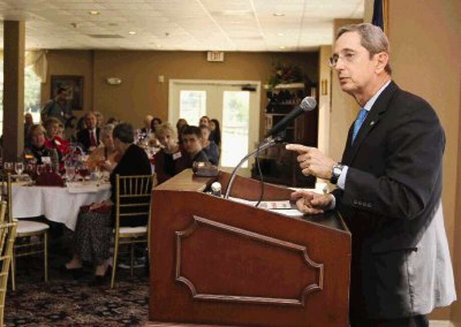 Texas Land Commissioner Jerry Patterson, who announced his candidacy for Lieutenant Governor, speaks at the Montgomery County Republican Women's general meeting at the River Planation Country Club Thursday. / Conroe Courier