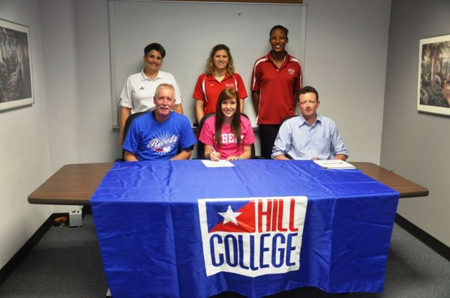 Anita Permenter of Clear Brook High School recentlyl signed a volleyball letter of intent with Hill College. She was a three year letterman and a two-time all-district performer as an outside hitter. Pictured are Bruce Permenter (dad), Anita Permenter, Jeremiah Tiffin (Hill College Coach), Cathy Supak (athletic trainer), Meredith Thompson (Brook head coach) and Jessica Curtis (assistant Brook Coach). Permenter was also selected as an All-Greater Houston All- star by the Greater Houston Volleyball Coaches Association. Photo: SUBMITTED PHOTO