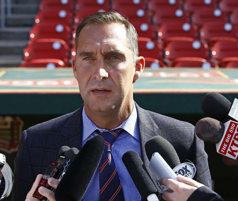 In this April 27, 2015 file photo, St. Louis Cardinals General Manager John Mozeliak addresses members of the media. Photo: Billy Hurst