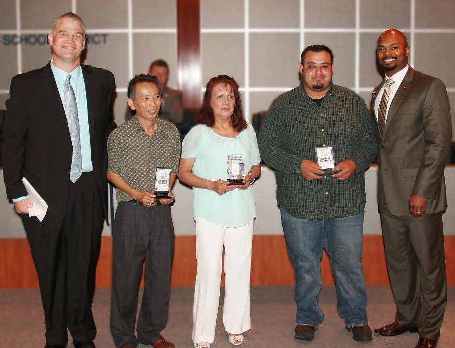 The Board honored custodial employees who exemplify excellence and provide exceptional service to the District. Custodial employees Rosa Ojeda, Matilde Ortega, and Anthony Thach were recognized for their commitment to Conroe ISD. Trustees also recognized two maintenance employees who show concern for the safety and well-being of students and staff members, communicate well with district stakeholders, and demonstrate extraordinary skills that enhance their job responsibilities and performance. Individuals honored were Luis Guevara and Joe Schwind.