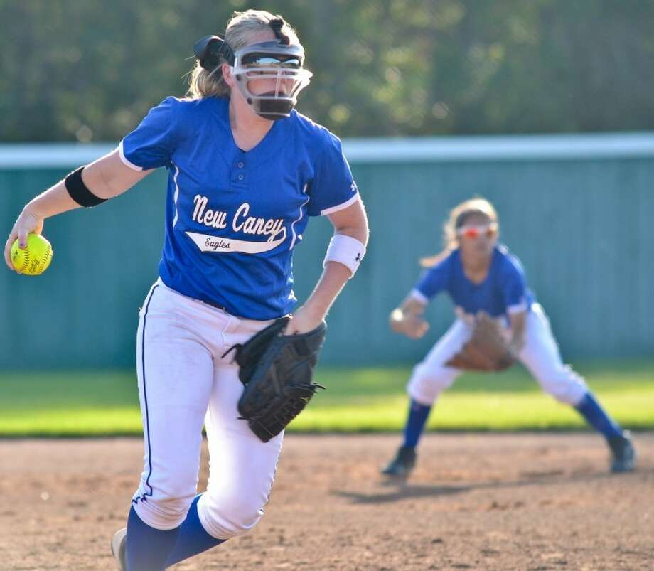 Katy Potter winds up to pitch in the first inning of New Caney's 10-5 loss to Summer Creek April 5. Photo: Photo By Stephen Whitfield