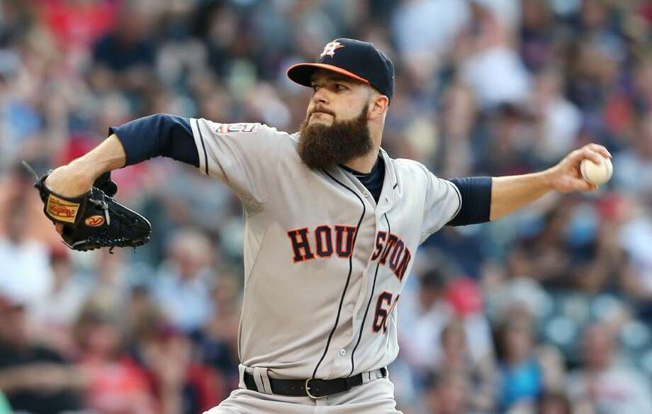 Astros pitcher Dallas Keuchel earned his 11th victory of the season on Monday, stopping the Cleveland Indians 9-4. Keuchel was named to the All-Star team on Monday, too, joining Astros second baseman Jose Altuve. Photo: Ron Schwane