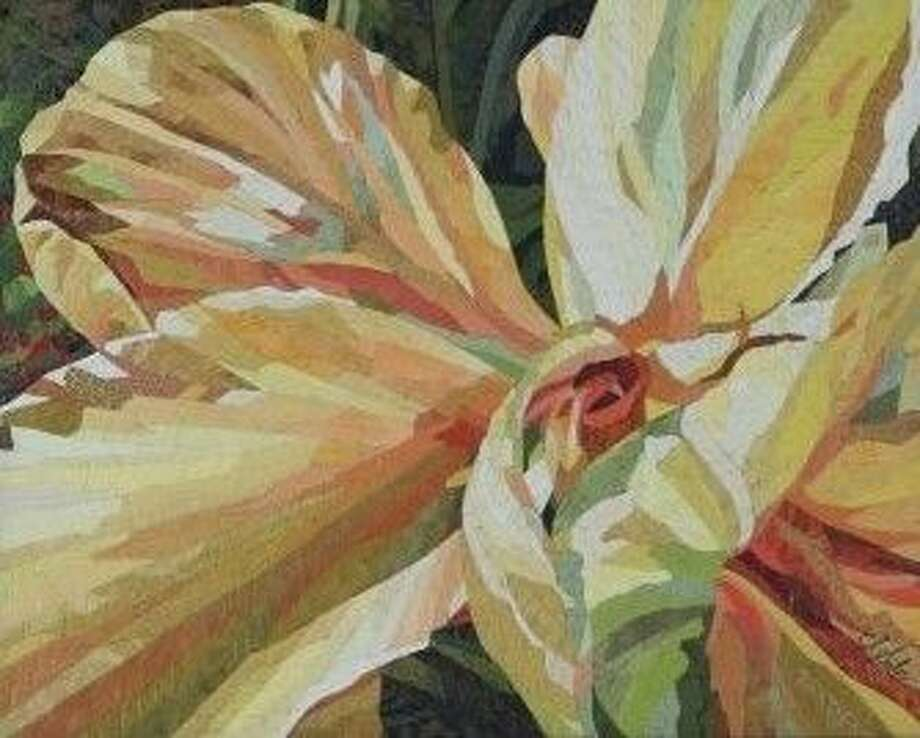 "A photo of a mosaic (mixed media) painting, titled ""Cannas,"" by Suzanne Seiler, which won the ""Best Floral"" award at the 2015 LSAG convention show June 26-27."
