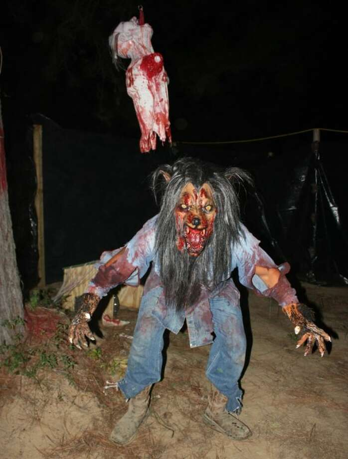 The Maze of Madness in Shepherd offers terror around every turn. Watch out for the things that bite like this werewolf.