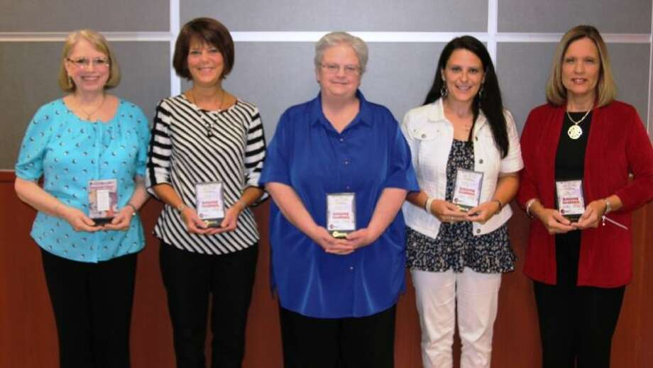 Various Conroe ISD employees were recognized Tuesday at the Conroe ISD board of trustees meeting: Employees are Janie Roth, Curriculum and Instruction Department; Gigi Weaver, Special Education Department; Rachel Jimenez, Finance Department; Terry Dauzart, Human Resources Department; and Esther Rich, Technology Department.