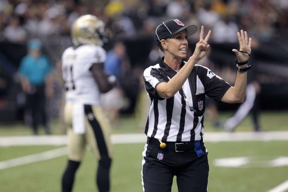 Sarah Thomas is that much closer to taking the field as the NFL's first female official. She's part of a clinic for all refs with most training camps about two weeks away from opening.