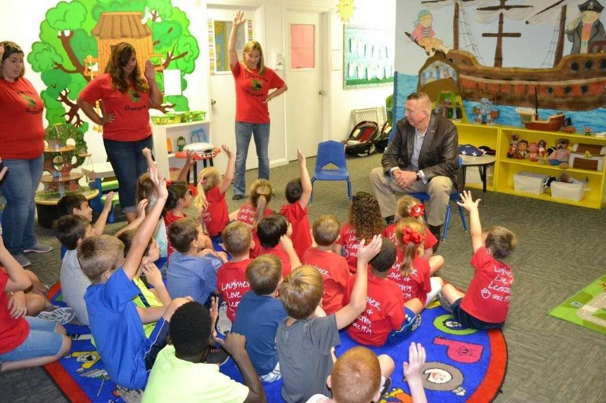"""Glenwood Private School, an early-childhood education center located on West Lewis Street, got to visit with retired Marine Lt. Gen. Steven Hummer through """"Mission: Readiness."""""""