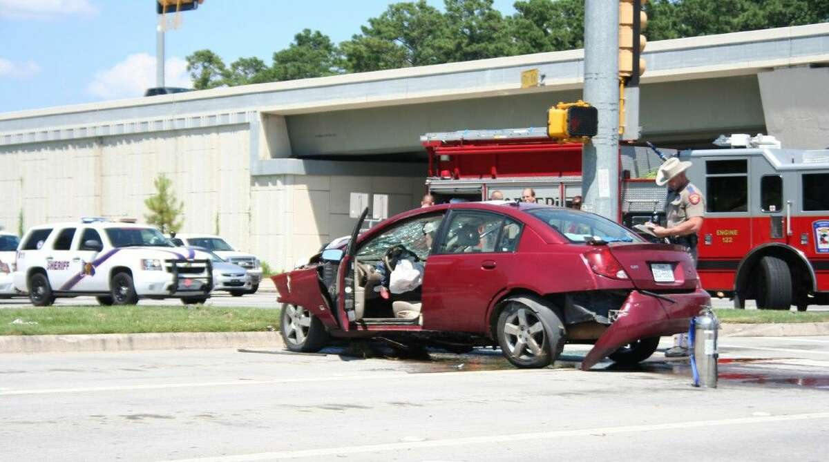 A police chase through Montgomery County ended when a stolen Saturn Ion collided with a grey Ford F-350.