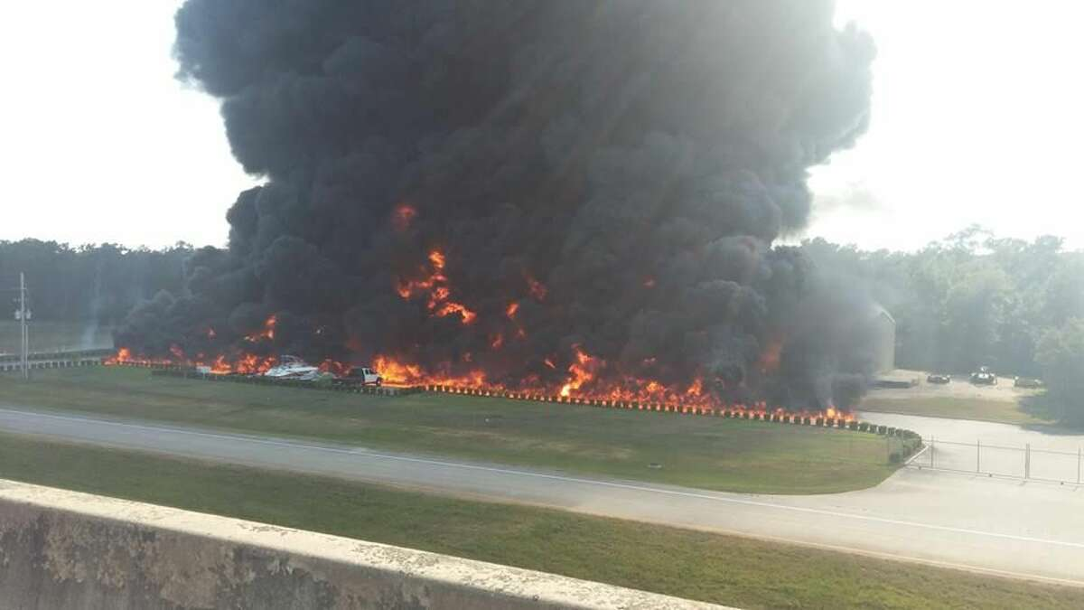 DrillChem Drilling Solutions was fully-engulfed and emitted thick, black smoke late Friday afternoon after several explosions earlier in the day.