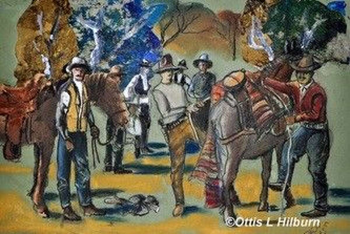 """Photo by Bonnie HilburnAn oil painting by Dr. Ottis Hilburn, titled """"Company D Texas Rangers Breaking Camp,"""" that is part of the artist's series of mid-1800s Texas paintings and is representative of some of the artwork to be displayed at this year's Texian Heritage Festival."""