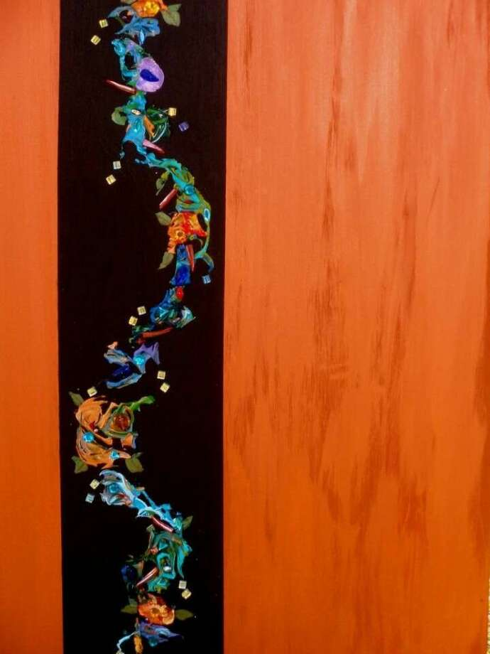 """A mixed media painting by Marilyn Balke-Lowry titled, """"Magical Beanstalk."""""""