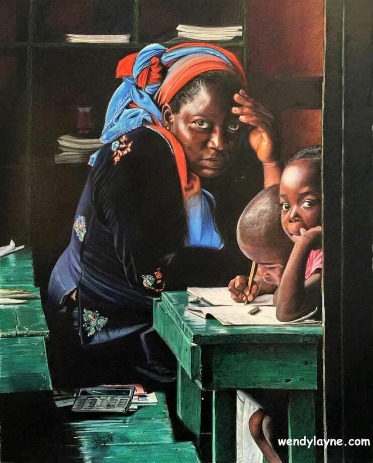 """A colored-pencil painting by Wendy Layne titled """"Teacher,"""" which won Best of Show at the July 29-30 Lone Star Art Guild Convention competition."""