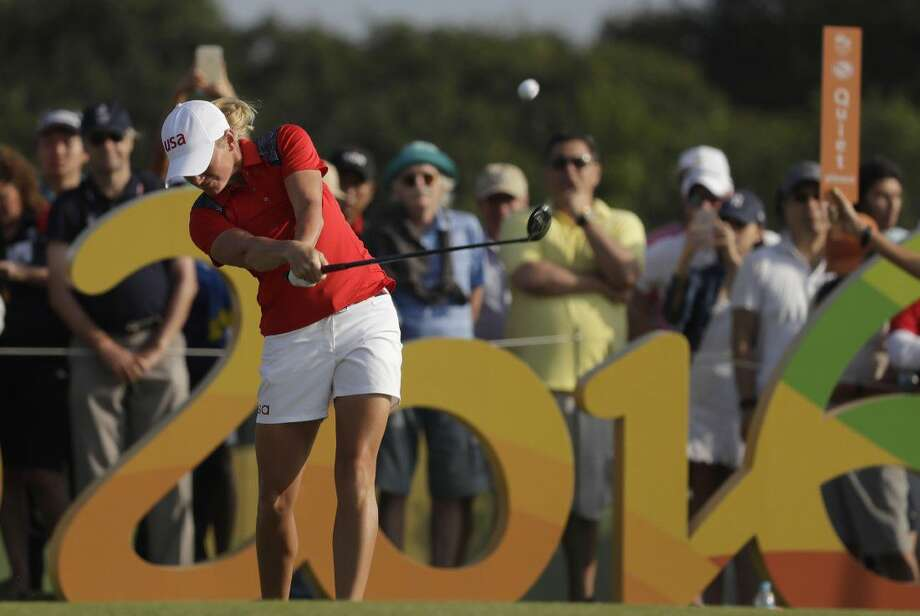 Stacy Lewis, a native of The Woodlands, tees off on the 16th hole during the third round of the women's golf event at the 2016 Summer Olympics in Rio de Janeiro, Brazil, Friday. Photo: Alastair Grant