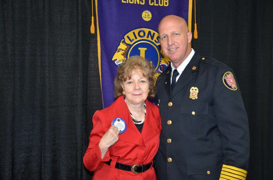 Judge Kathleen Hamilton and member of the Conroe Noon Lions Club made a presentation to the club last week on the Veterans Treatment Court she now presides over; pictured here with club President Chief Ken Kreger.