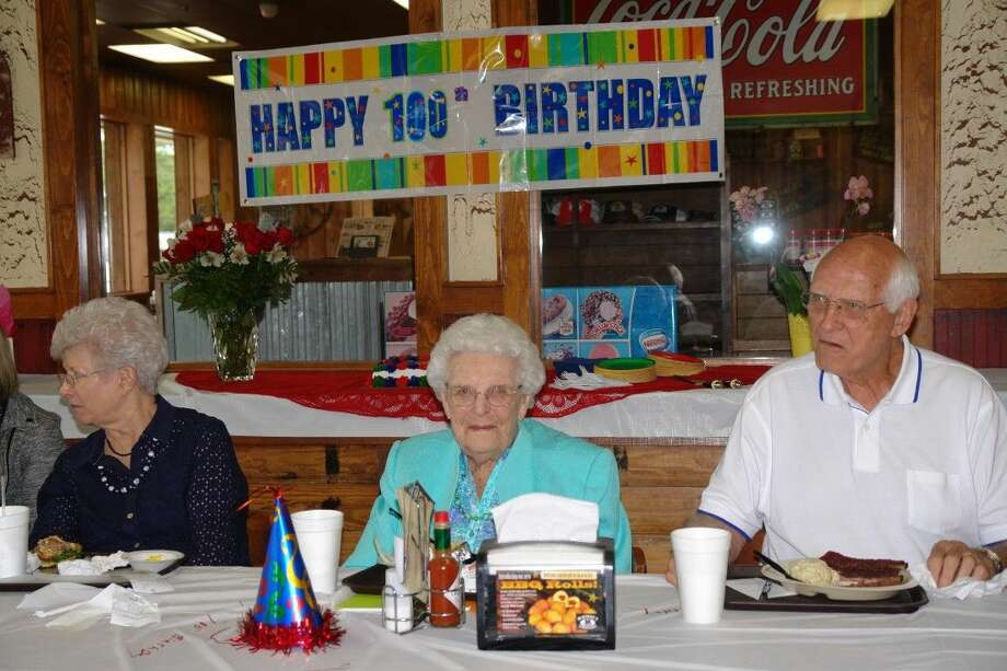 Ruth Reeves celebrated her 100th birthday at McKenzie's Barbeque in Conroe Monday.
