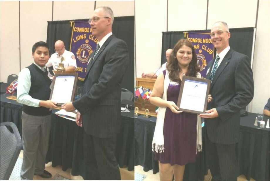The Conroe Noon Lions Club sponsored its annual Peace Poster Contest for children 11-13 years old. This year's winners are Jose Naves, left, and Angelie Aggarwal, right, both receiving their awards from Club President Steve Wohlschlaeger.