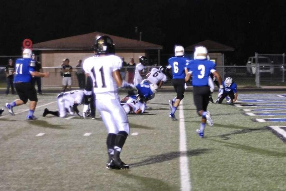 Anahuac quarterback Josh Cooper (6) scoring against Hardin Oct. 4.