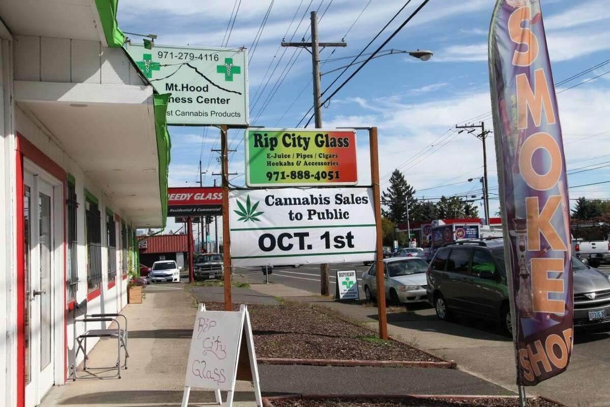 A medical marijuana dispensary displays a sign Monday in Portland, Ore.