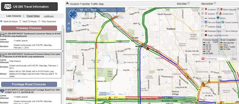 houston transtar releases real time traffic map of us 290