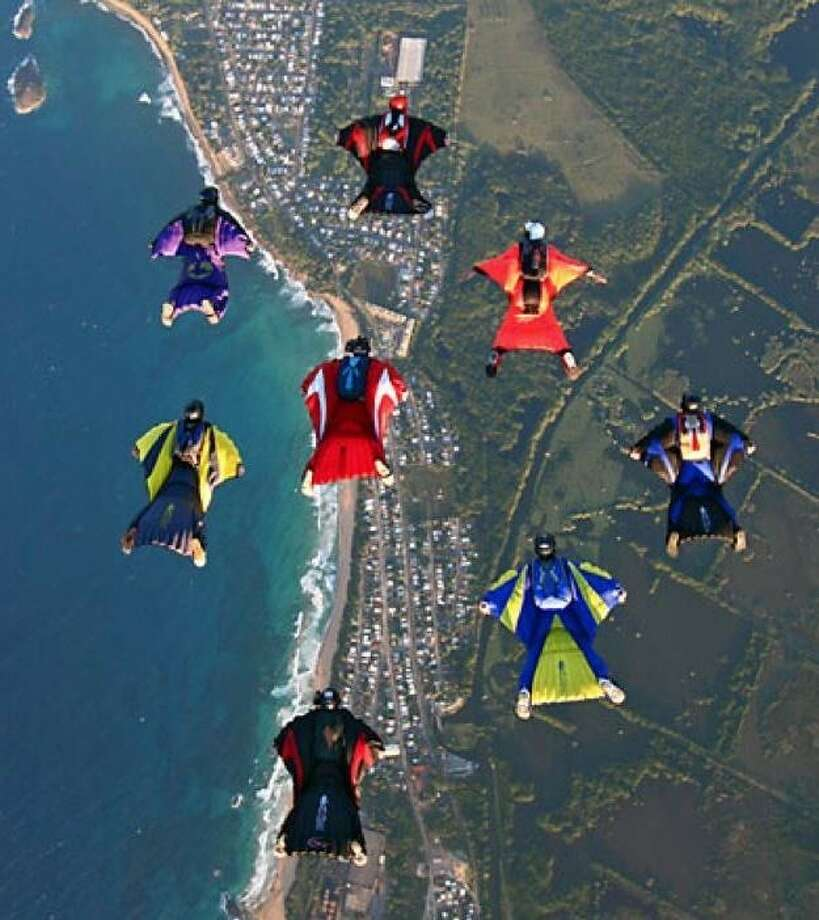 """Skydivers will be flying in formation and in """"bird suits"""" as part of the """"Jump for the Rose,"""" raising money for breast cancer services."""